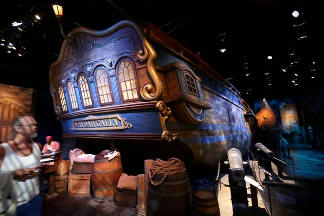 A life-size replica of the hull of the pirate ship Whydah Gally is displayed at the Whydah Pirate Museum,...