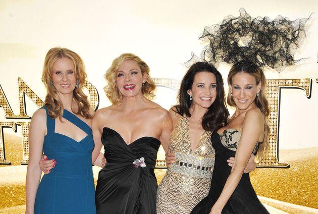 Les actrices Cynthia Davis, Kim Cattrall, Kristin Davis et Sarah Jessica Parker lors d