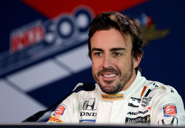 Alonso attends the media shortly before participating in the 500 Miles of