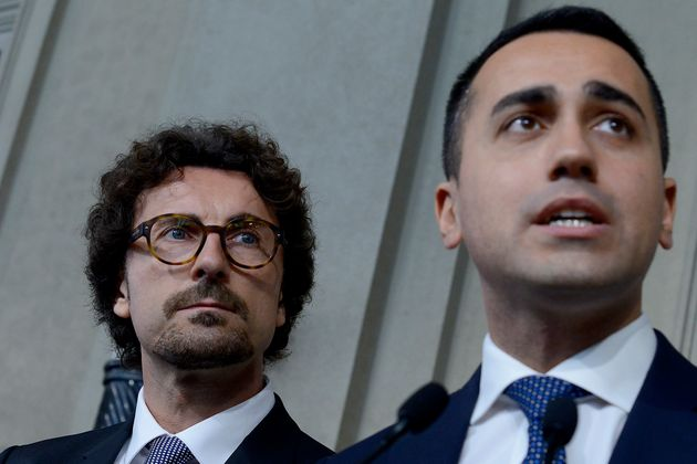 ROME, ITALY - MAY 07: The delegation of Five Stars Movement with Luigi Di Maio and Danilo Toninelli at...