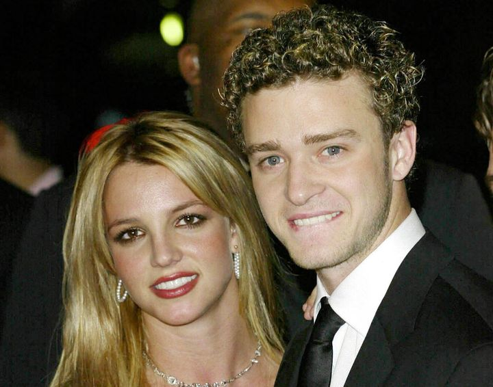Pop singers Justin Timberlake and Britney Spears at the Clive Davis Pre-Grammy Party at the Beverly Hills Hilton on Feb. 20,