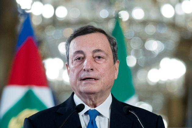 Draghi, ante los medios tras aceptar el encargo del jefe de