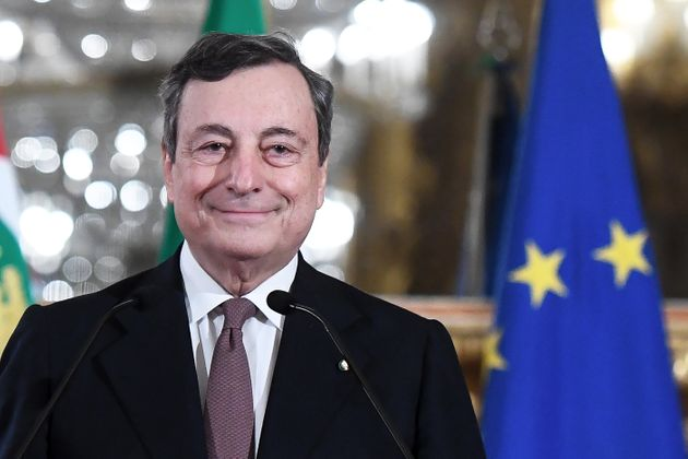 ROME, ITALY - FEBRUARY 12: Italian Prime Minister-designate Mario Draghi, announces to the media the...