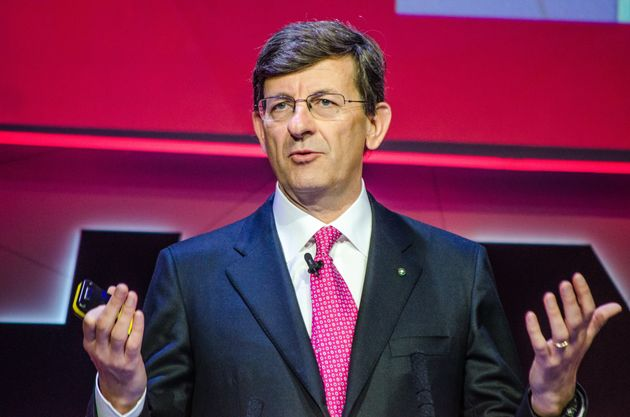 BARCELONA, CATALONIA, SPAIN - 2018/02/26: Vittorio Colao, Vodafone Group CEO on stage during his speech...