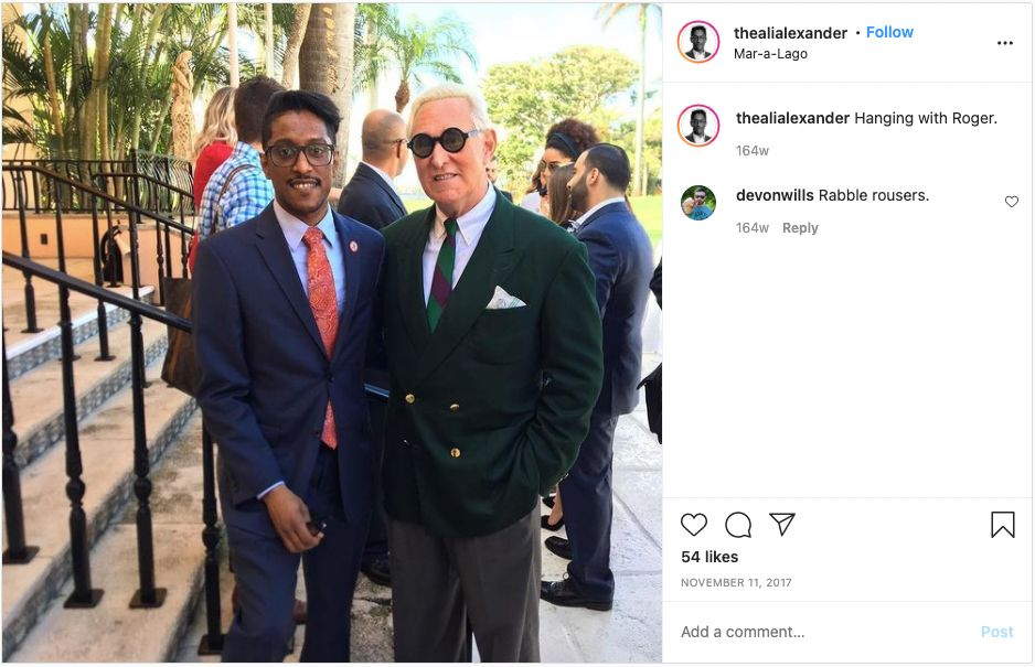 Ali Alexander and Roger Stone meet at Donald Trump's Mar-a-Lago club in Palm Beach, Florida.