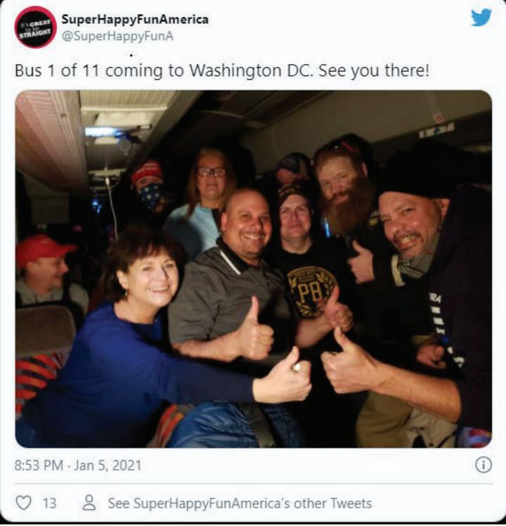 "Suzanne Ianni, a member of the Town Meeting in Natick, Massachusetts, left, aboard a bus headed to Washington for the Jan. 6 ""March to Save America"" rally. She was arrested for breaching the Capitol."