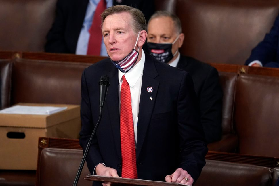 Rep. Paul Gosar (R-Ariz.) objects to certifying Arizona's Electoral College votes on Jan. 6.