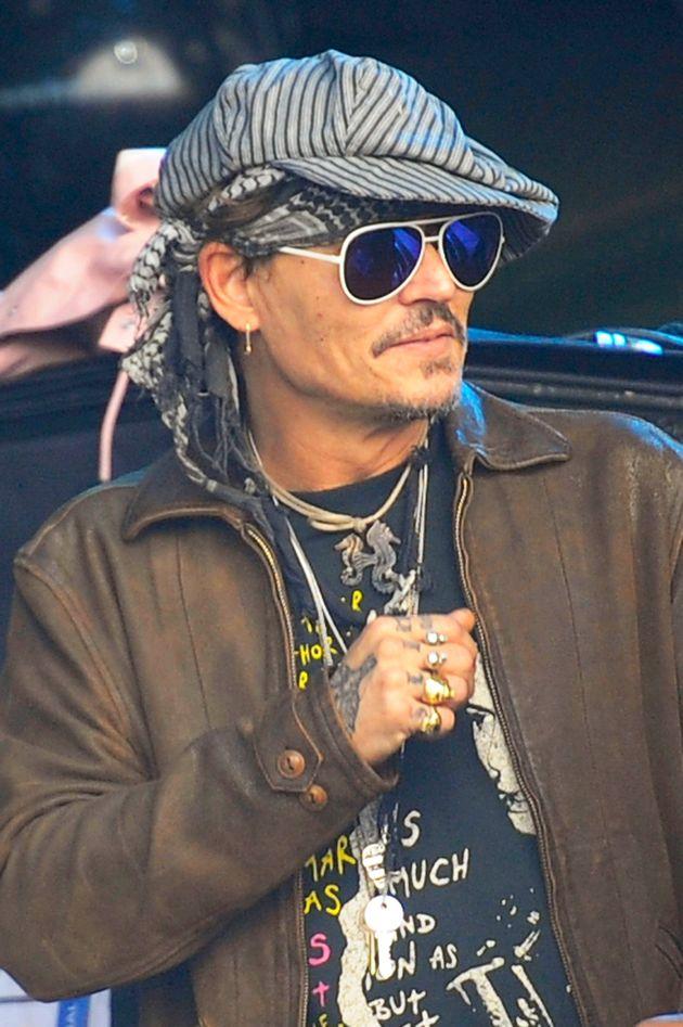 Johnny Depp on the Pyramid Stage at Glastonbury