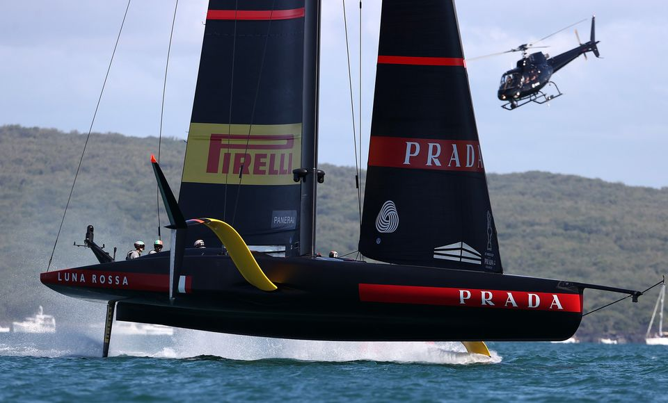 AUCKLAND, NEW ZEALAND - FEBRUARY 13: Prada Luna Rossa wins race one during day one of the Prada Cup Final...