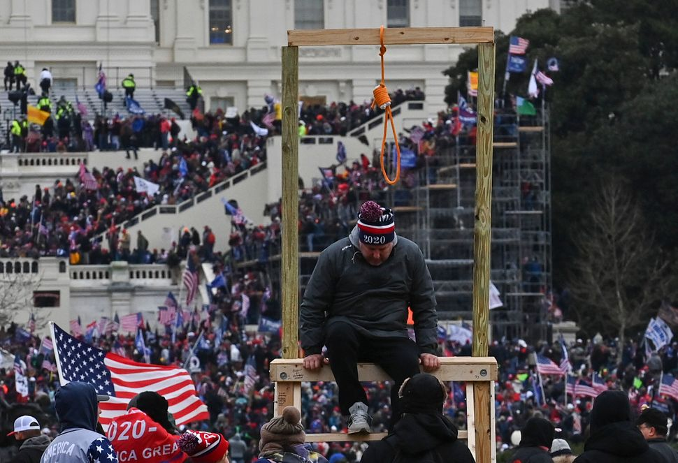 "Trump supporters erected a gallows as they chanted ""Hang Mike Pence!"" and hunted for Speaker Nancy Pelosi in the Capitol."