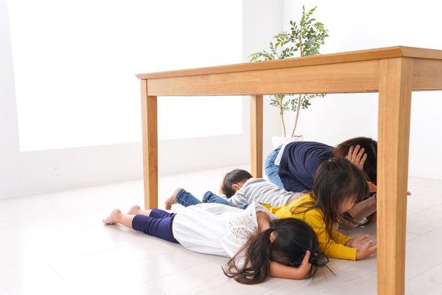 Children taking refuge from