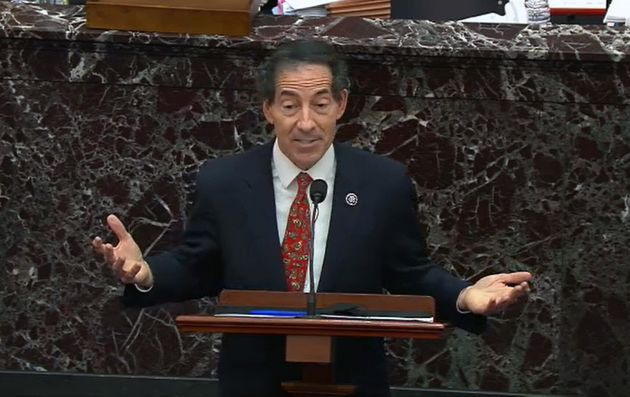 Jamie Raskin, the leader of the Democratic prosecutors, on the 5th day of the impeachment trial of ...