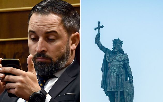 Santiago Abascal and the statue of King Pelayo in