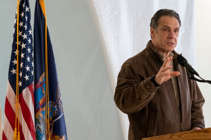 New York Gov. Andrew Cuomo speaks to reporters during a news conference at a COVID-19 pop-up vaccination site in the William
