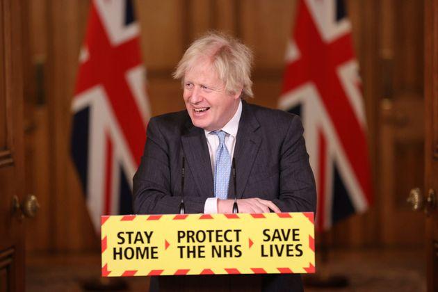 Boris Johnson during a media briefing on coronavirus in Downing Street last