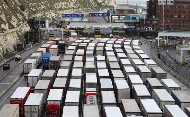 Lorries queue to enter the Port of
