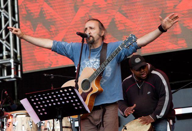 ROME - MAY 01: Enrico 'Erriquez' Greppi of the Italian band Bandabardo performs on the Primo Maggio music...