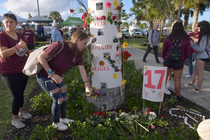 In this February 2019 photo, Parkland community members honor the victims of the mass shooting one year later.