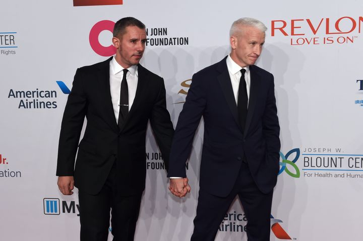 Anderson Cooper and Benjamin Maisani at the Elton John AIDS Foundations 14th Annual An Enduring Vision Benefit in 2015.