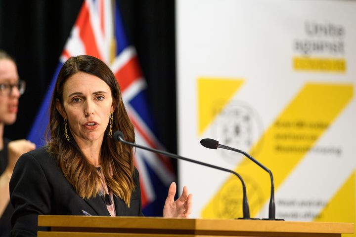 NZ Prime Minister Jacinda Ardern addresses media quesitons during a COVID-19 press conference on February 14, 2021 in Wellington, New Zealand.