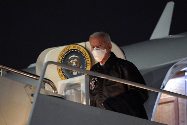 US President Joe Biden steps off Air Force One upon arrival at Hagerstown Regional Airport in Hagerstown,...