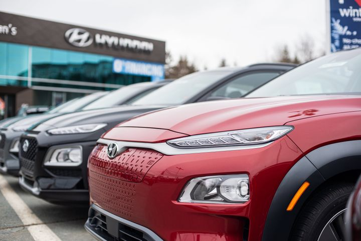2021 Hyundai Kona Electric compact sport utility vehicles at a dealership in Dartmouth, N.S. on Jan. 10, 2021.
