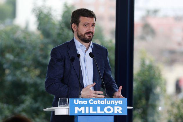 Pablo Casado, durante un acto de campaña en Tarragona (Fabián A. Pons/Europa Press via...