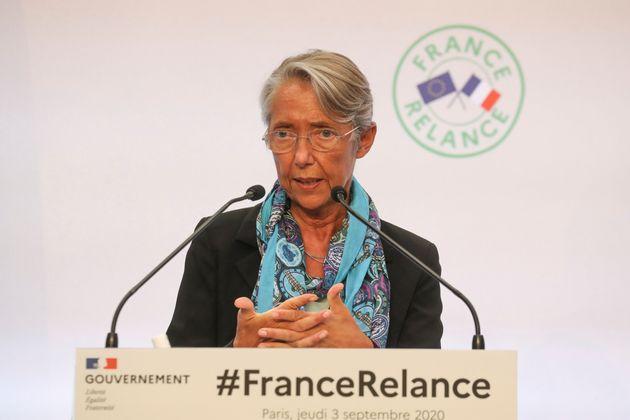 Elisabeth Borne en confrérence lors de la présentation de France Relance le 3 septembre...