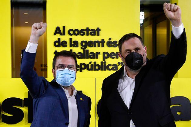 El líder de ERC, Oriol Junqueras, y el candidato a la presidencia, Pere