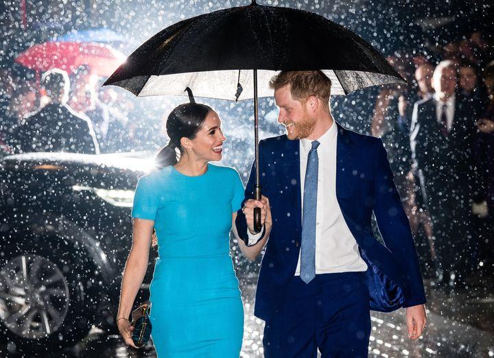 Meghan Markle y el príncipe Harry en marzo de 2020 en Londres.