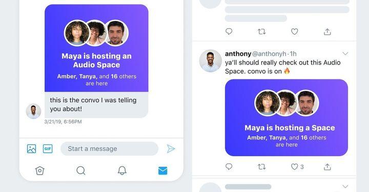 Una sala de audio de Spaces compartida mediante mensaje directo y mediante un tuit.