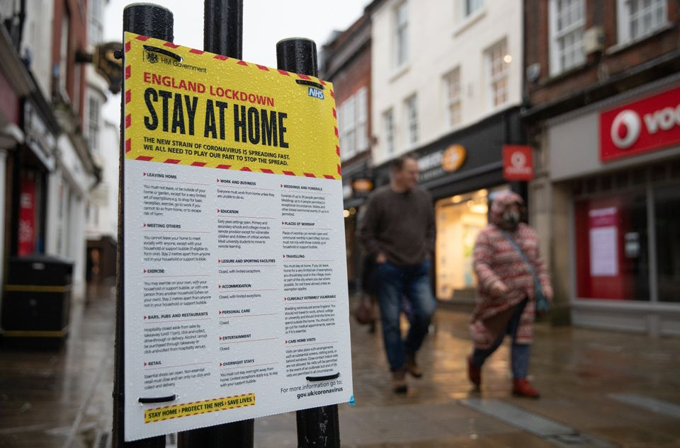 A sign warning people to stay at home in Winchester,