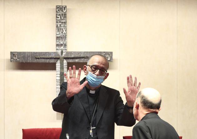 El presidente de la Conferencia Episcopal, el cardenal Juan José Omella en Madrid, el pasado mes...
