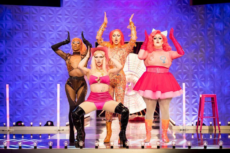 Tayce, Bimini Bon Boulash, A'Whora and Lawrence Chaney on the Drag Race UK