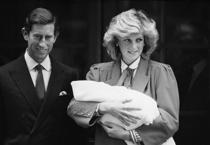 Diana Princess of Wales and Prince Charles with newborn Prince Harry on Sept. 16, 1984.