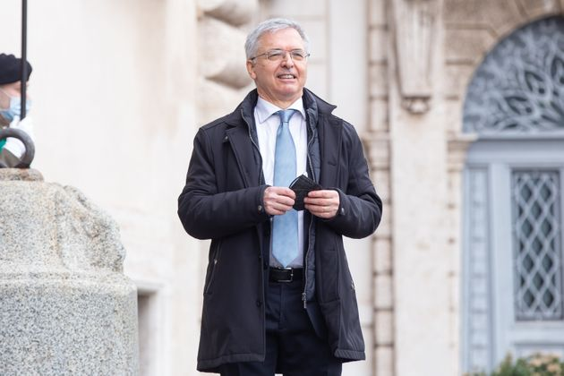 ROME, ITALY - 2021/02/13: Economy Minister Daniele Franco enters the Quirinal Palace for the swearing...