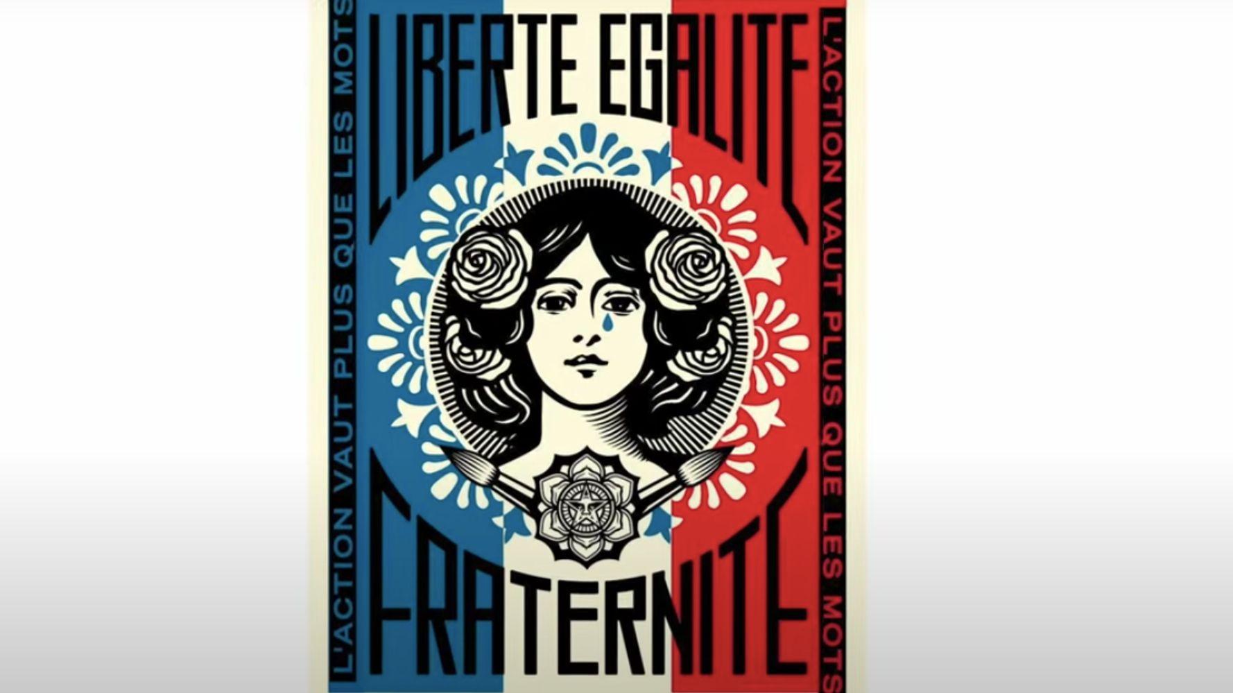 La Marianne de Shepard Fairey à Paris pleure, et c'est voulu par l'artiste