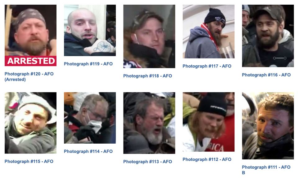 Images of 10 defendants wanted for assault on a federal officer. Just one is currently labeled as