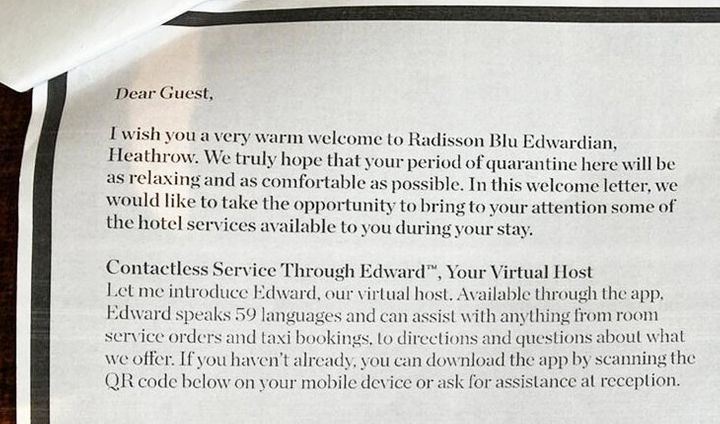 <strong>Handout photo issued by Zari Tadayon of an excerpt from the welcome pack given to quarantining guests at the Radisson Blu.</strong>