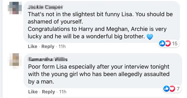 Facebook comments responding to news.com.au's link to an article about Wilkinson's