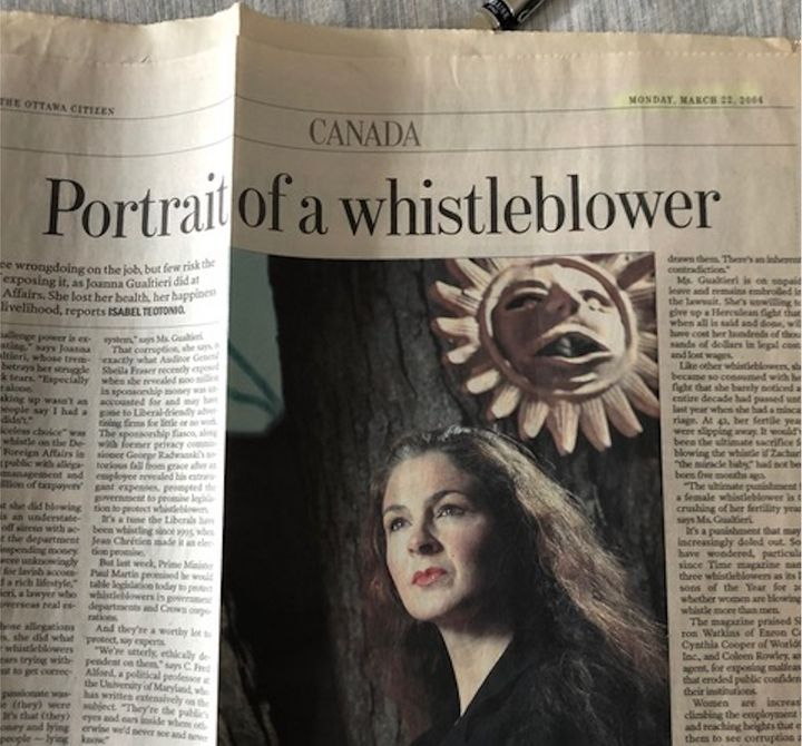Clipping of a profile of Joanna Gualtieri published in the Ottawa Citizen in March 2004.