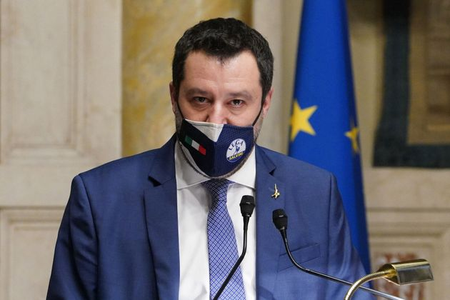 The representative of of Lega Matteo Salvini at the Chamber of Deputies during the consultation for the...