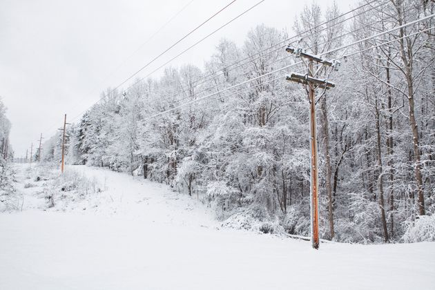 Chapel Hill North Carolina where snowstorm looking at telephone power lines in the