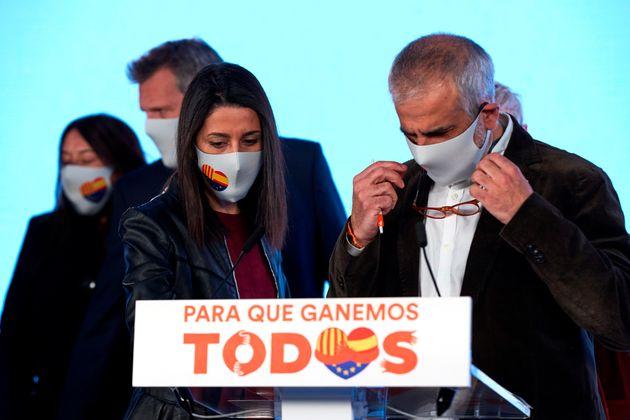 Inés Arrimadas y Carlos Carrizosa, el domingo 14 de febrero, en
