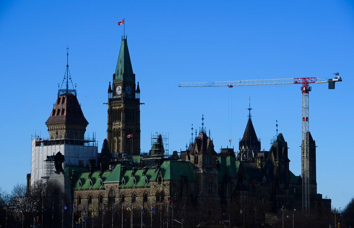 Construction continues on renovations on Parliament Hill in Ottawa on Dec. 17, 2020.