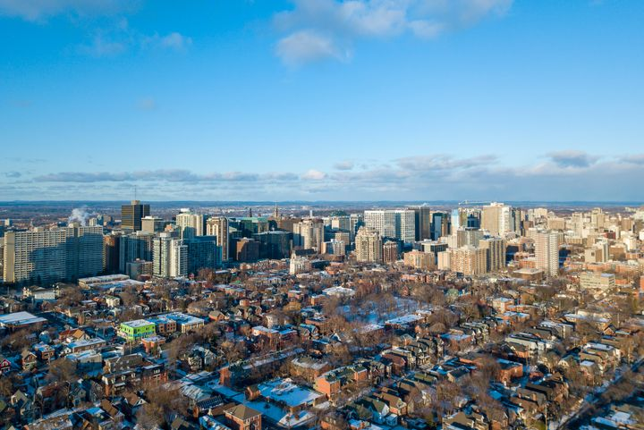 An aerial view of houses in Ottawa's Centretown neighbourhood. The average resale price of a house shot up 23 per cent in January amid a shortage of supply, the Canadian Real Estate Association says.