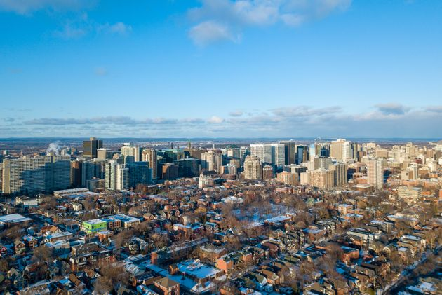 An aerial view of houses in Ottawa's Centretown neighbourhood. The average resale price of a house shot...