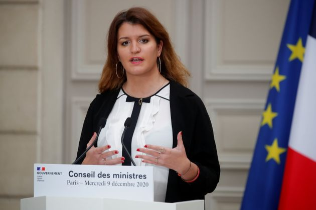 Marlène Schiappa, ici en décembre 2020, met en avant deux articles du projet de loi séparatismes,...