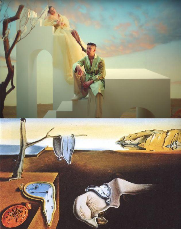 Imagen del videoclip de 'La noche de anoche' y el cuadro 'La persistencia de la memoria' de Salvador Dalí.