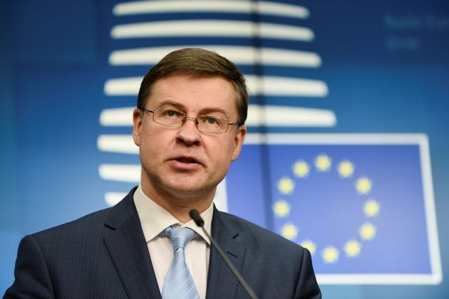 European Commission Vice President Valdis Dombrovskis speaks during a news conference following a EU...